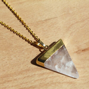 Triangle Clear Quartz Gemstone Crystal Gold Plated Chain Pendant. Boho Necklace