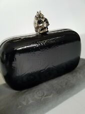 **Alexander MCqueen** Black Ivy Patent Leather Skull Box Clutch