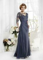 New Elegant 3/4 Long Sleeve Lace Mother of the Bride Dress Navy Blue Formal Gown