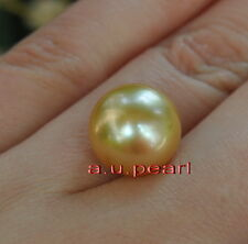 Australia Top REAL round yellow golden 17-18 MM LOOSE SOUTH SEA PEARL pendant