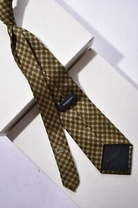 Luxe BURBERRY LONDON Brown Tan Gold Gingham Nova Check 100% Silk Tie Italy