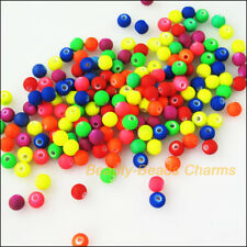 100Pcs Mixed Plastic Acrylic Fluorescence Round Ball Charms Spacer Beads 6mm