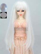 "7-8"" 1/4 BJD White Straight Long Wig LUTS Doll Dollfie SD DZ DOD Hair +Cap UL"