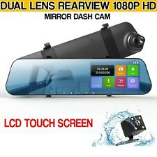 Dual Lens Car DVR Dash Cam Front and Rear Mirror Camera Video Recorder 1080P