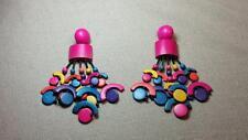 Vintage 80's - Large Colorful Painted Wood Hoop Cluster Chandelier Earrings