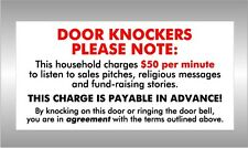 DOOR KNOCKERS PLEASE NOTE - do not knock on my door - agreement Colorbond Sign