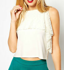 Holiday party top in white lace overlay by ASOS size 10 12 Bnwt