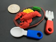 MADE IN JAPAN Rubber Funny Eraser Teppanyaki Lobster Fork Spoon Dollhouse toy