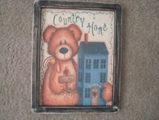 """Primitive Country Print *COUNTRY HOME*  black frame 9 1/2"""" x 11 1/2"""" FREE SHIP!"""