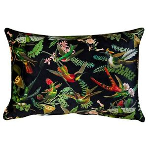 "Luxury Velvet Botanical Cushion. Birds, Leaves, and Flowers. 17x12"" Rectangle."