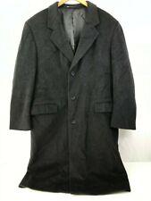 Kuppenheimer Men's Long Gray Cashmere Wool Coat Button Front Lined Rear Vent