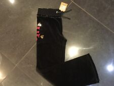 NWT Juicy Couture New & Genuine Girls Age 8 Black Velour Pants With Juicy Logo