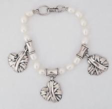 Barry Kieselstein 2004 Sterling Silver & Pearl Charm Bracelet