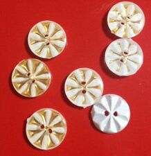 10 x White & Gold 13mm Plastic Buttons- Australian Supplier