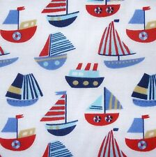 White Polycotton Fabric with Blues & Red Boats Print (Per Metre)
