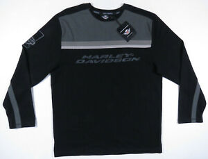 NWT Harley Davidson HD Motorcycle Black Embroidered Knit Mens Pullover Sweater M
