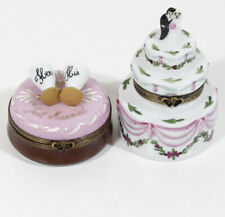 Lot 2 Limoges Trinket Box Wedding Cake + Just Married Champagne Toast