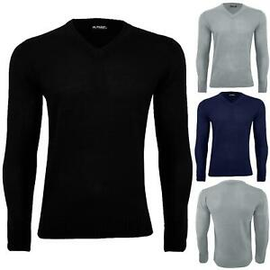 Mens V Neck Long Sleeve Sweater Ribbed Cuff Knitted Winter Warm Pullover Jumper