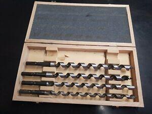 4 Mèche spirale Foret - Berner  12- 14 - 16 - 18 avec boite bois