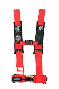 """Red Pro Armor Seat Belt Harness 4 Point 3"""" Padded Arctic Cat Prowler Wildcat"""