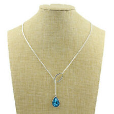 New style Jewelry Silver Chain Crystal Water droplets Pendant Necklace H1