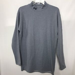 Under Armour Women Compression Shirt Long Sleeve Mock Neck Sz XXL 2XL Blue Gray