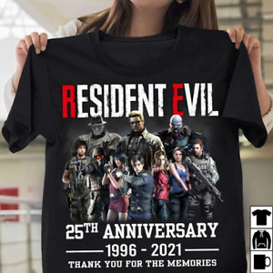 Resident Evil Video Game 25th Anniversary Fan Gift Unisex T Shirt S-5XL Black