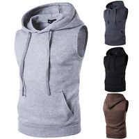 Mens Sleeveless Hoodie Hooded Pocket Vest Hoody Casual Gym Spots Muscle Tank Top