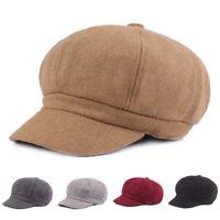 Vintage Women's Men's Woolen Octagonal Cap Newsboy Cabbie Cap Casual Beret Hat