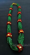 N124 Green glass beads 9 gedi tilhari festival Bridal pote mala Necklace Nepal