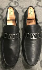 24052708dae 100% AUTHENTIC LOUIS VUITTON DAMIER LEATHER BLACK LOAFERS SHOES LV 8 US 9
