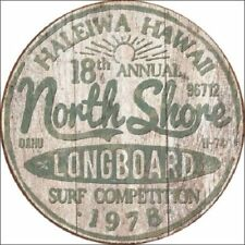 North Shore Longboard Picture Metal Sign Surfing Surfer Beach Retro Decor Art