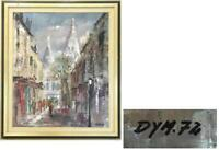 "PARIS STREET SCENE OIL ON CANVAS CHURCH OF MONTMARTRE ""DYM 72"" SIGNED"