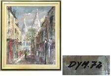 "PARIS STREET SCENE OIL ON CANVAS CHURCH OF MONTMARTRE ""DYM 72"" SIGNED"