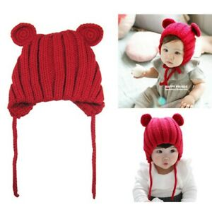 Baby Beanie Hat Wool Knitted Winter Ear Warm Cap Soft Boys Girls Newborn 0-3Y AU