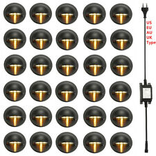 30Pcs 35mm LED Deck Step Light Warm White 12V Black Half Moon Yard Stair Fence