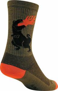 SockGuy Dinosaur Wool Socks - 6 inch, Green, Small/Medium