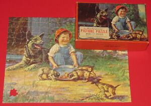 """VINTAGE MASTERPIECE PICTURE PUZZLE """"COME AND GET IT'"""" BOY GERMAN SHEPHERD DOG -1"""