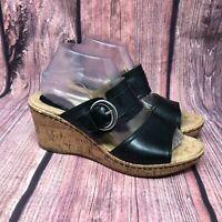 BOC Born Women's Black Leather Cork Wedge Heel Strappy Buckle Sandal Size 9