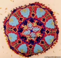 "16"" Indian Round Mandala Cushion Cover Pillow Case Suzani Embroidery Throw Decor"