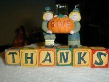 "1 Pc House of Lloyd Fall Autumn Pilgrim ""Give Thanks"" Blocks Resin"