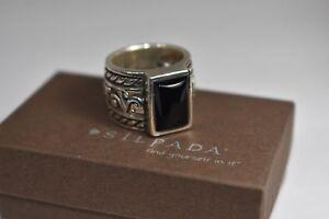 SILPADA RARE SIZE 8 R1096 Black Onyx Filigree Scroll Sterling Silver Band Ring