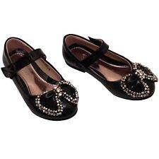 niña infantil Rojo Negro Blanco Dama De Honor Fiesta Zapatos De Tacón Bajo Talla