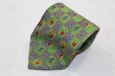 SK0204 Juka Fashion & Quality Krawatte 100% Seide grün, schwarz-weiß kariert mit