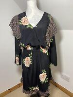 Nine Savannah Miller Mismatched Pattern Dress Size 18 Floral Polka Dot Ruffled