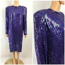 Vintage Judith Ann Creations All Over Sequin Dress Purple Silk Gatsby DECO L
