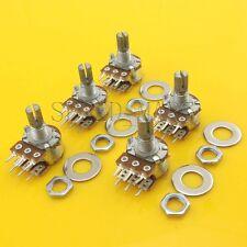 5 pcs B20K Ohm Dual Linear Rotary Potentiometer Pot 20mm Shaft 6 Pins