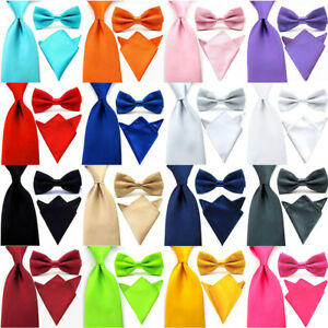 Men Solid Color Bowtie 8CM Wide Satin Neck Tie Pocket Square Handkerchief Set