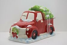 Christmas Tree Red Truck Cookie Jar Earthenware New Holiday Time Hand Painted B