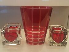 Bohemian Czech Ruby Red Flower Vase And 2 Candle Holders With Red Hearts